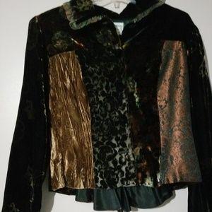 Burnout velvet peplum jacket